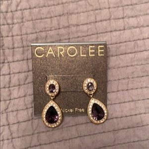 NEW CAROLEE earrings gold purple